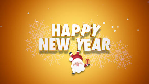 Animated close up Happy New Year text and Santa Claus with gift boxes on yellow background CG動画