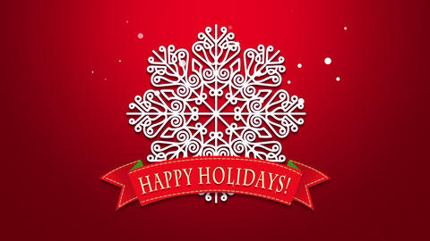 Animated closeup Happy Holidays text, white snowflakes on red background CG動画