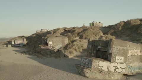 Dunkirk beach, broken bunkers and sand dune (Dunkerque, France) d-log Live Action