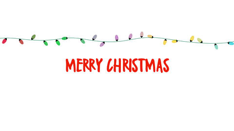 Animated close up Merry Christmas text, colorful garland on white background CG動画