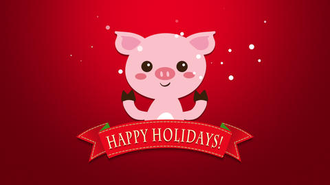 Animated closeup Happy Holidays text and funny pig Videos animados