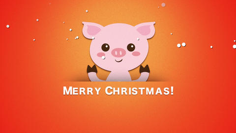 Animated closeup Merry Christmas text and funny pig CG動画