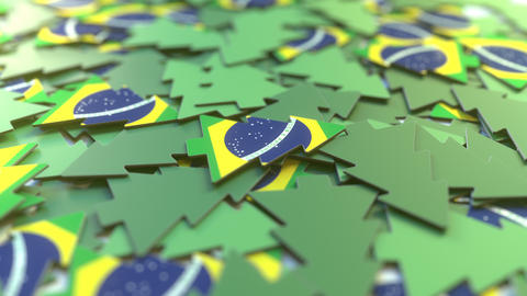 Details of flag of Brazil on the cardboard Christmas trees. Winter holidays Footage