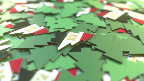Details of flag of Egypt on the souvenir Christmas trees. Winter holidays Live Action