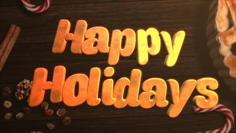 Animated close up Happy Holidays text, candy and Christmas pie on wood background Videos animados