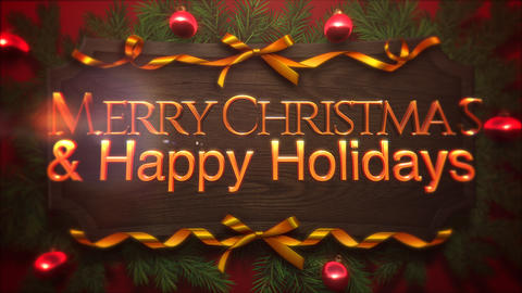 Animated closeup Merry Christmas and Happy Holidays text, red balls and green branch on wood Animation