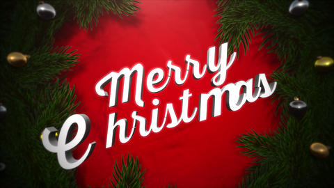Animated closeup Merry Christmas text, colorful garland and green tree branches on wood background Videos animados