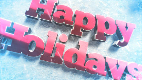 Animated closeup Happy Holidays text, green tree branches and toys on snow background Videos animados