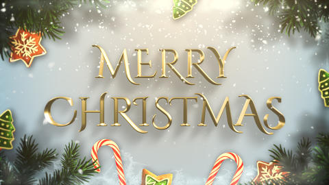 Animated closeup Merry Christmas text, green tree branches and toys on snow background Animation