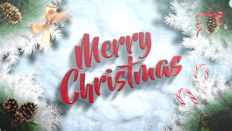 Animated closeup Merry Christmas text, green tree branches and toys on snow background Videos animados