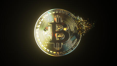 Total disintegration of a BTC bitcoin token. Cryptocurrency collapse related Live Action