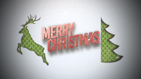 Animated closeup Merry Christmas text, green Christmas tree and deer on snow background Animation