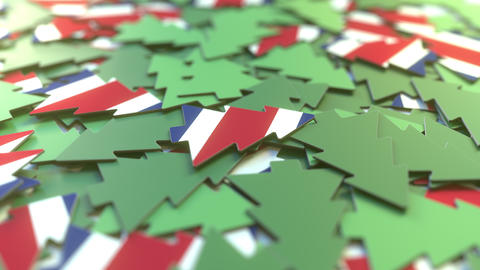 Details of flag of Costa Rica on the souvenir Christmas trees. Winter holidays Live Action