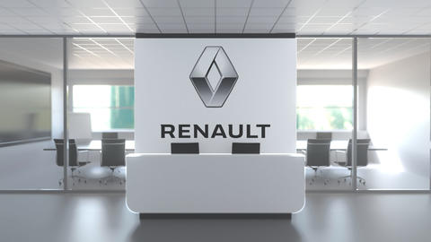 Logo of RENAULT on a wall in the modern office, editorial conceptual 3D Live Action