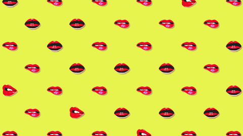 Abstract Minimal pop art motion design animation of lips and kisses. Color Animation