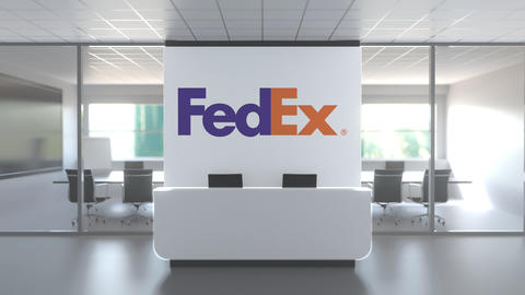 Logo of FEDEX on a wall in the modern office, editorial conceptual 3D animation Live Action