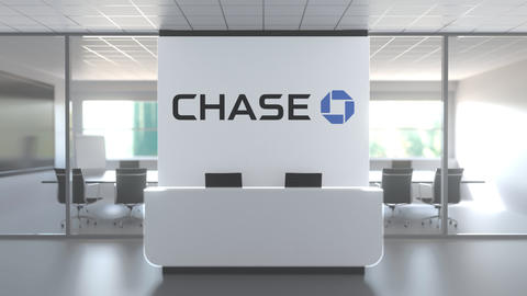 CHASE logo above reception desk in the modern office, editorial conceptual 3D Live Action