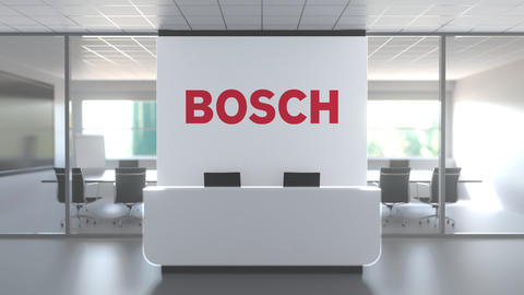 BOSCH logo in modern office and a meeting room, editorial conceptual 3D Live Action