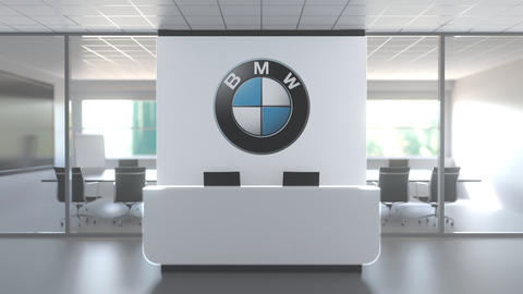 Logo of BMW on a wall in the modern office, editorial conceptual 3D animation Live Action