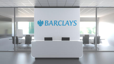 Logo of BARCLAYS on a wall in the modern office, editorial conceptual 3D Live Action