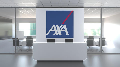 Logo of AXA on a wall in the modern office, editorial conceptual 3D animation Live Action
