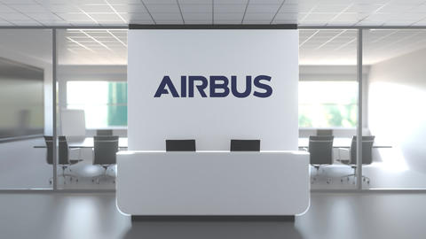 Logo of AIRBUS on a wall in the modern office, editorial conceptual 3D animation Live Action