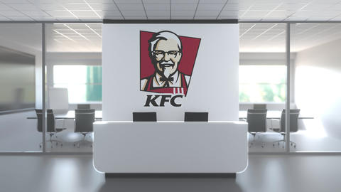 KFC logo above reception desk in the modern office, editorial conceptual 3D Live Action