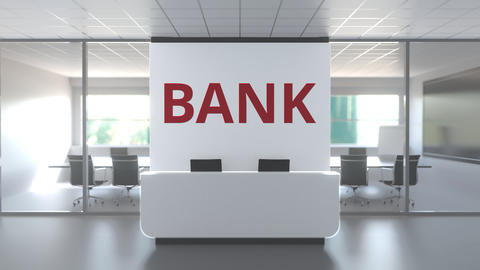 Modern office with meeting room and reception desk af a bank, conceptual 3D Live Action