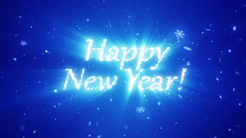 Congratulatory New Year video card. Decorative snowflakes create a congratulatory inscription. Snow Videos animados
