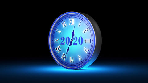 Frozen instant. Fabulous blue clock, midnight. New Year 2020. Christmas. 3D animation Animation