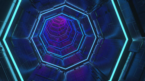 Gradient sci-fi tunnel seamless loop 3d rendering animation Animation
