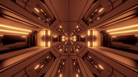 futuristic scifi fantasy space hangar tunnel corridor with glowing lights 3d Animation