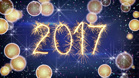sparkler text animation new 2017 year greeting Animation