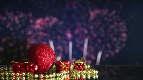 christmas decorations and fireworks on background loopable Footage