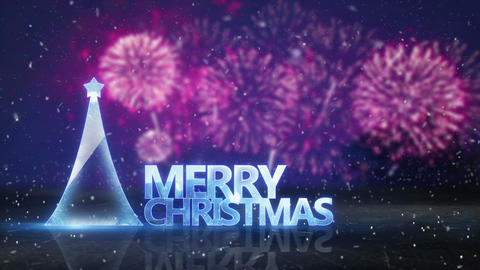 merry christmas text and fireworks on background loop Animation