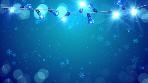 christmas blue light bulbs and snowfall loop Animation
