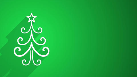 christmas tree shape with long shadows on green Animation
