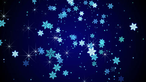 blue glow snowflakes falling loop animation Animation