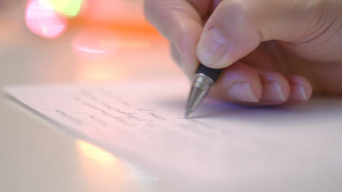 Writing christmas message close-up Footage