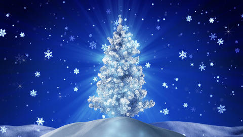 glowing christmas tree at night outdoor loopable Animation