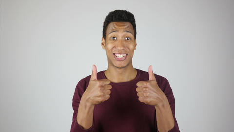 Excited Man Appreciating, Thumbs up with Both Hand, Success Footage