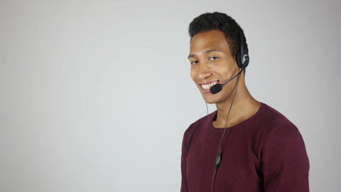 Smiling Call Center Operator, Service Center Agent Live Action