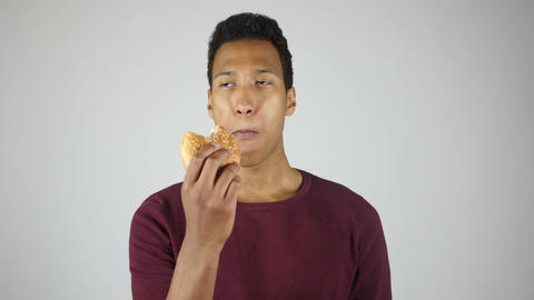 Eating Burger, Chewing Hungry Young Man Footage