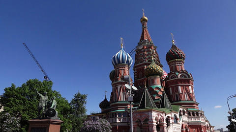 Saint Basil's Cathedral and Minin and Pozharsky monument at Red Square GIF