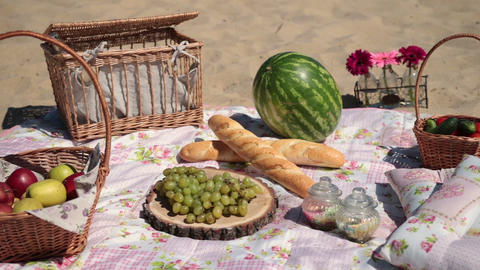 Picnic with different sorts of snacks on blanket Live Action