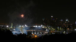 Beautiful fireworks over the famous Dodger Stadium Footage