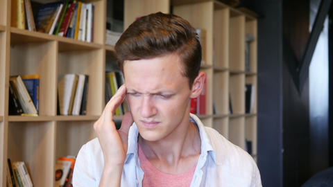 Headache ,depression , stress young Man Portrait, Live Action