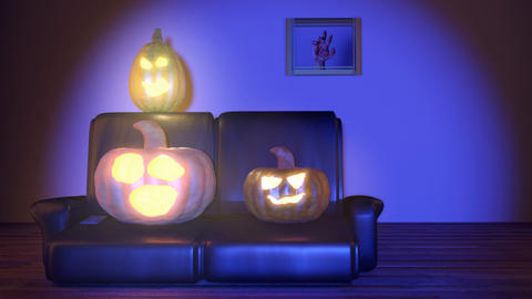 horrified pumpkins watching tv at night Animation