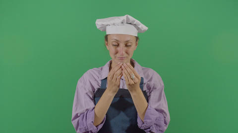 Woman Cook Smelling His Hands Live Action