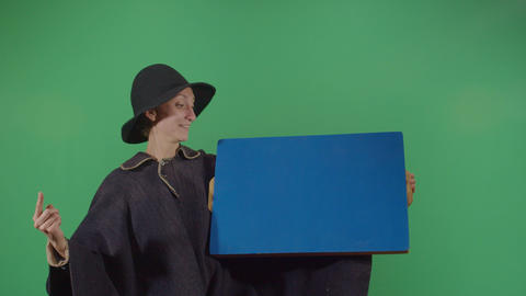 Woman Magician Appear Something On Screen Live Action